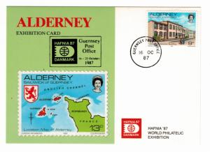 Alderney Stamp Scott #3, On 1987 Exhibition Card, Hafnia World Philatelic Exh...