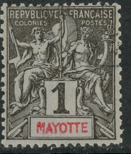 MAYOTTE 1892-1907 1c Navigation and Commerce Issue Sc 1 VFU