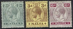 MALTA 1914 KGV 2D 3D AND 6D WMK MULTI CROWN CA