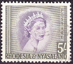 RHODESIA & NYASALAND 1954 EQII 5/- Violet & Olive-Green SG13 Used