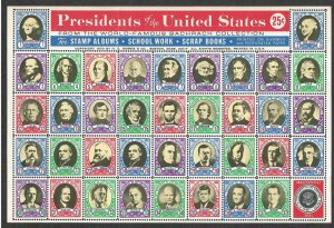 Full Sheet of Labels of the First 37 USA Presidents - I Combine S/H