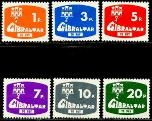 GIBRALTAR Sc#J7-J12 1976 Postage Due Complete Set OG Mint Hinged