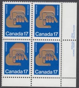 Canada - #856 Helping Hands Plate Block - MNH