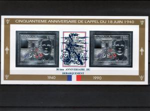 Guyana De Gaulle D.Day Anniv.Silver Sheet Blue Ovpt.Perforated Mint (NH)