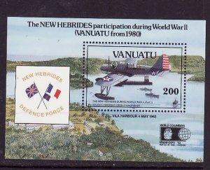 Vanuatu-Sc#564-Unused NH sheet-WWII-Planes-Aircraft-1992-