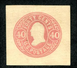 U.S. U73 Cut Square, 40c Rose, Buff