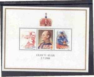 Norway Sc 931 1988 Olav V 85th Birthday stamp Sheet mint NH
