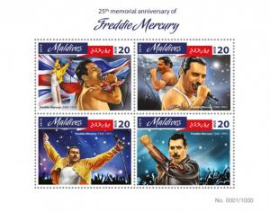 MALDIVES 2016 SHEET FREDDIE MERCURY SINGERS MUSIC mld16404a