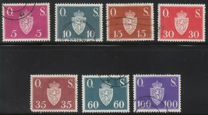 Stamp Norway Official Sc O058-64 1951 Dienst Coat Arms Used