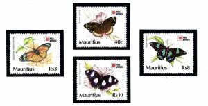 Mauritius 739-42 MNH 1991 Butterflies