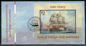 MARSHALL ISLANDS 2005 200th ANN OF THE BATTLE OF TRAFALGAR S/S FIRST DAY COVER