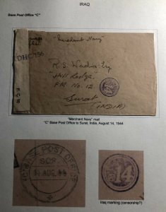 1944 Iraq Indian Section Base PO C Merchant Navy Censored Cover To Surat