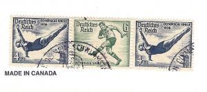 Germany, B83-84, Olympic Games, Semi-Postal Strip (3), Used
