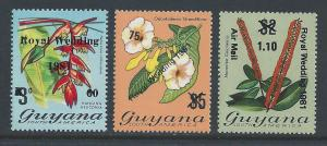 Guyana #331-3 NH Orchid Stamps Surcharged & Ovptd. Royal...