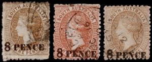 South Australia Scott 71, 71a, 71b (1876-80) Used G-F, CV $31.50 M