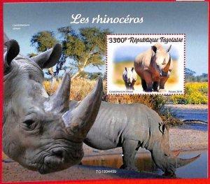 A3289 - TOGO, ERROR MISPERF, Souvenir sheet: 2019, Rhinoceros, Fauna