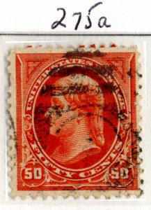 USA Scott #275a, 1897, 50c red org, Jefferson, Used