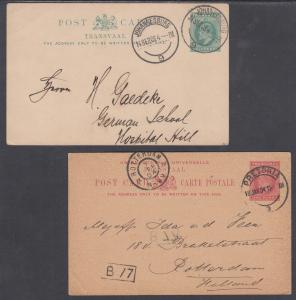 Transvaal H&G 11, 12 used 1902 ½p + 1p KEVII Postal Cards