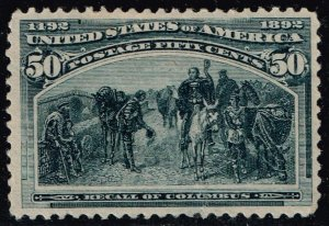 US STAMP #240 – 1893 50c Columbian Commemorative: Recall of Columbus MH/OG