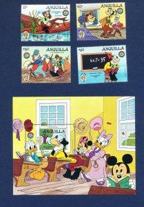 ANGUILLA - #653-656 & 654A - VF MNH set & S/S - Disney Huckleberry Finn