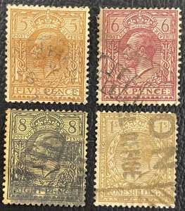GB #166,167,169,172 Used - King George V c1912-1913 SCV ~ $30.75 [$055]
