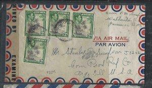 JAMAICA COVER (P3009B)  KGVI  2DX4 CENSORED A/M  TO USA