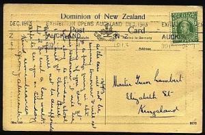 NEW ZEALAND 1913 postcard EXHIBITION OPENS machine slogan cancel........21620