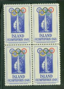 ICELAND 1948 Olympic stamp, Block of 4, og, NH