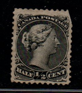 Canada Sc 21 1873 1/2c black large Queen Victoria stamp used perf 11 1/2 x 12