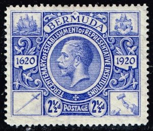 UK STAMP BERMUDA 1921 King George V Institutions Tercentenary 2 1/2 P. MH/OG