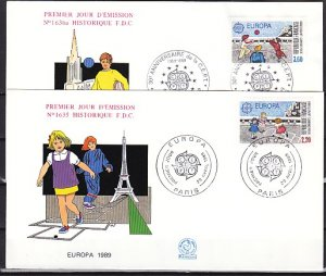 France, Scott cat. 2152-2153. Europa-Children`s Games issue. First day cover. ^
