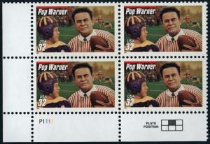 SC#3149 32¢ Football Coaches: Pop Warner Plate Block (1997) MNH