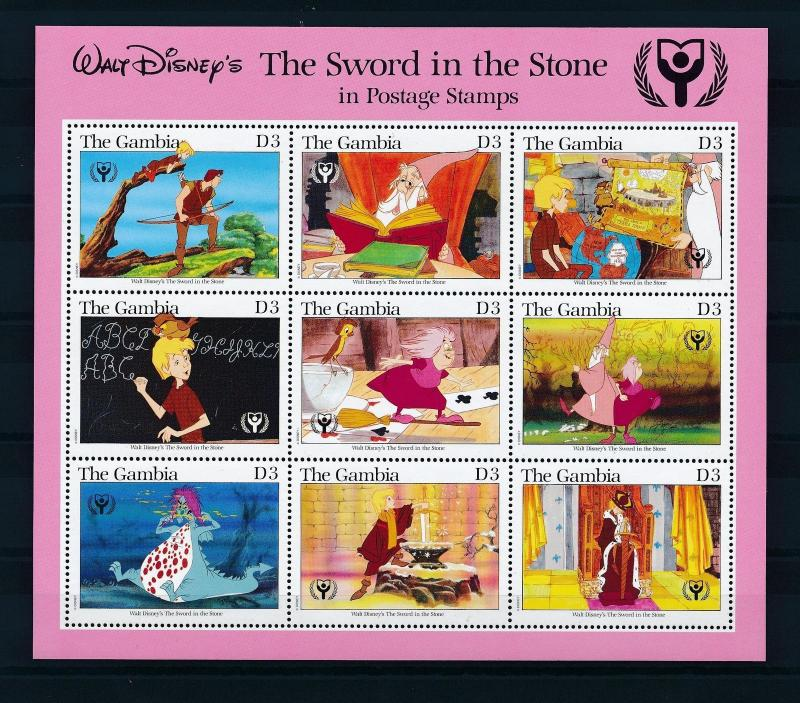 [22601] Gambia 1991 Disney Movie The Sword in the Stone MNH