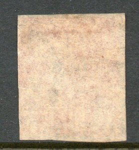Trinidad 1854 Britannia (1d) Rosa-Rojo en Blanco Papel Imperf Sg 12 Usado