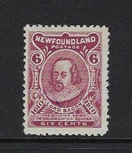 NEWFOUNDLAND SCOTT #92A 1910  GUY ISSUE 6C TYPE II (COLONIZATION)  - MINT HINGED