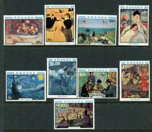 Rwanda 983 - 991 Impressionist Painters MNH Complete Set 1980