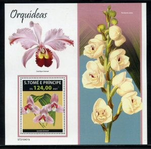 SAO TOME 2021 ORCHIDS SOUVENIR  SHEET MINT NEVER HINGED