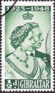 GIBRALTAR 1948 KGVI ½d Green 'Royal Silver Wedding SG134 FU