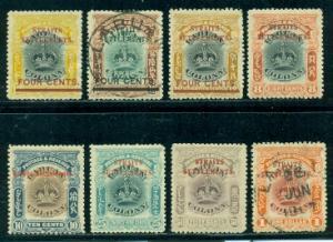 Straits Settlements #137-144 Part Set  Mixed M&U  CV$ 187.25