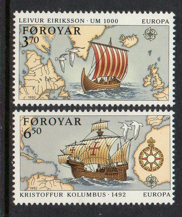 Faroe Islands 1992 Europa Ship Map Columbus VF MNH (236-7)