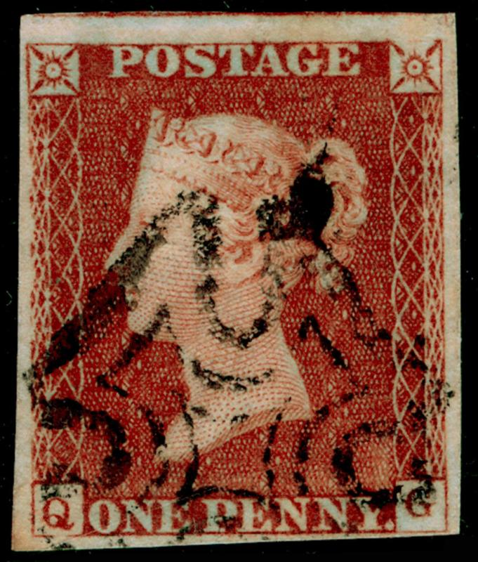 SG8, 1d red-brown PLATE 27, FINE USED. Cat £60. IVORY HEAD. QG