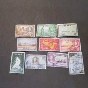 Tonga  100-109  Short set, Mint , OG 1d-1Sh 1953 Cv.$10