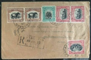 1920 Sandakan North Borneo Registered Cover  to Westminster Canada Wax Seal