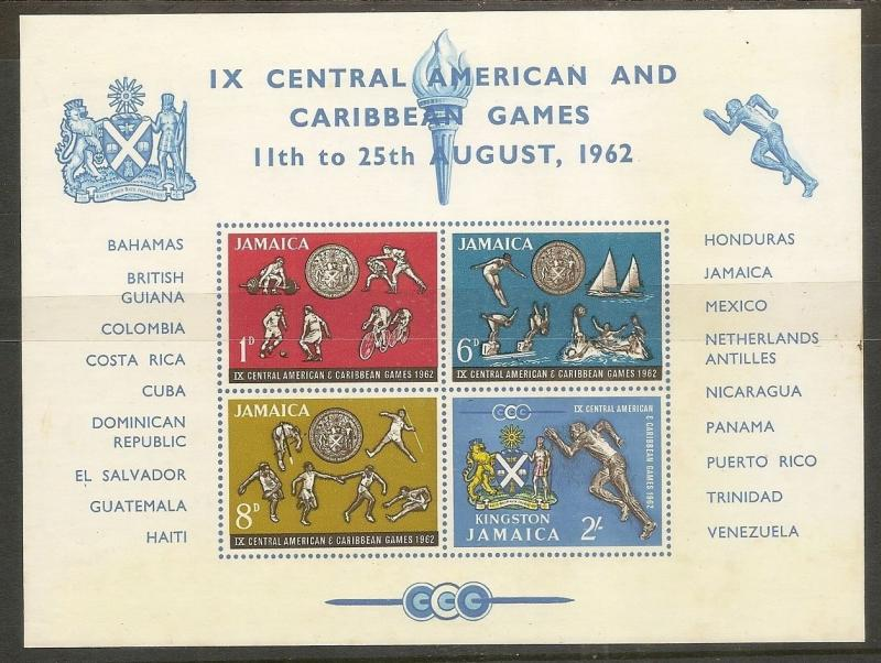 Jamaica 1962 Games Imperf Mini Sheet MNH