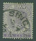 Straits Settlements SC#12 Queen VIctoria 6c, Perfin used