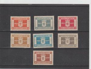 Wurttemberg  Scott#  O33-O39  MH  (1916 Officials)