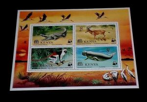 KENYA #93a, 1977, ENDANGERED SPECIES, WILDLIFE, SOUVENIR SHEET, MNH, NICE! LQQK
