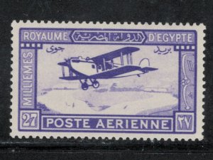 Egypt 1926 Mail Plane in Flight 27m Scott # C1  MH