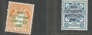 IRELAND 118-119, HINGED, PAIR OF STAMPS, OVERPRINTED WITH IN MEMORY OF THE R...