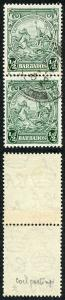 Barbados SG248var 1/2d Green COIL JOIN Pair FINE USED